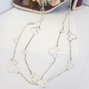 Unique Silver Tone Mickey Long Chain Necklace